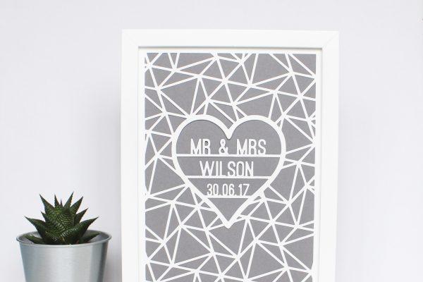 Framed Geometric Wedding papercut